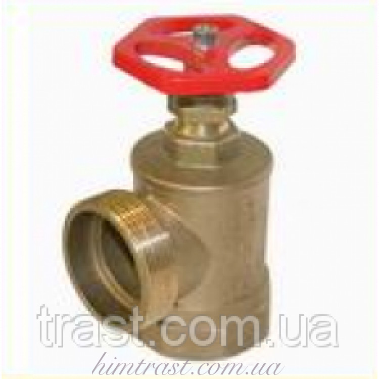 Кран (вентиль) пожарный латунный (Н/Вн), D-50 угловой