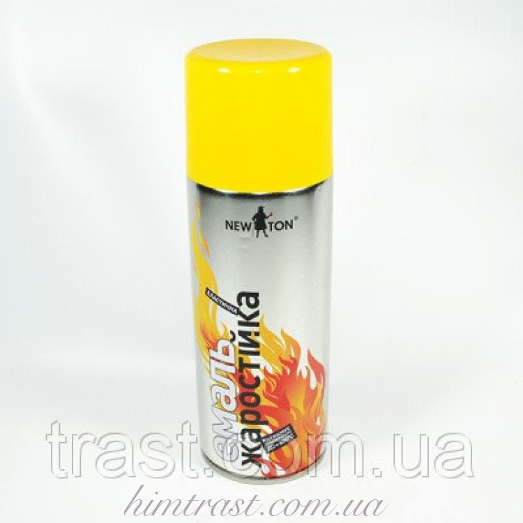 Краска термостойкая (жаростойкая) аэрозольная желтая New Ton 400 мл