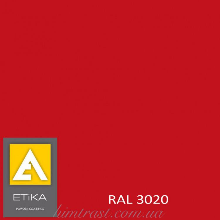 Краска порошковая полиэфирная Etika Tribo Транспортный красный RAL 3020 шагрень<br />